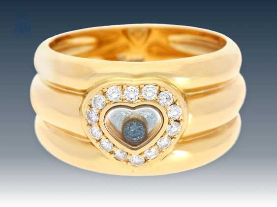 """Ring: high-quality vintage Chopard Ring """"Happy Diamonds"""", a special model """"Blue Diamond"""", fully signed and numbered - photo 1"""
