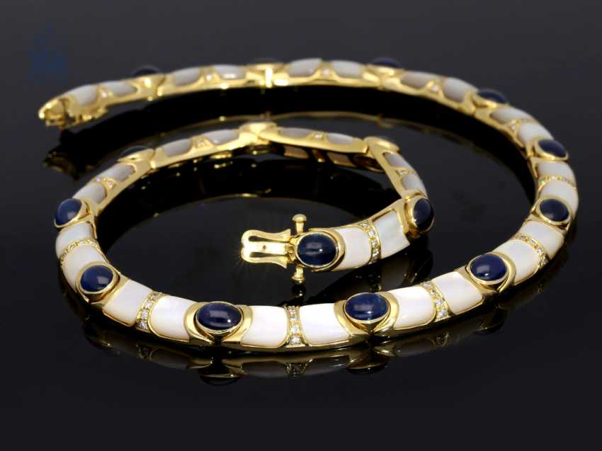 Necklace/Collier: very decorative and unusual gold necklace with sapphires, diamonds and mother-of-pearl - photo 1