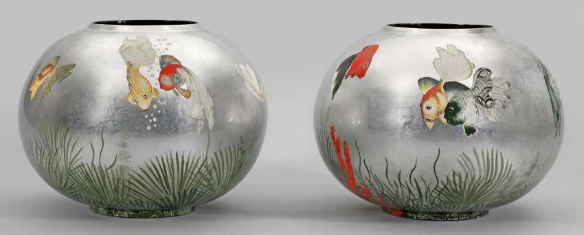 Pair Of Large Spherical Vases With Fish Decoration In The Style Of