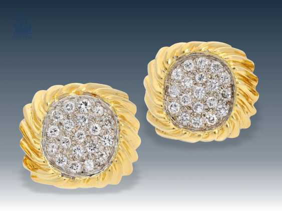 Cufflinks: exceptional, very high quality crafted vintage cufflinks with diamonds - photo 1