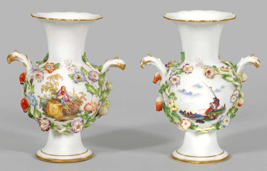 Pair Of Ornamental Vases With Flowers And Fruits Decoration Lot 499