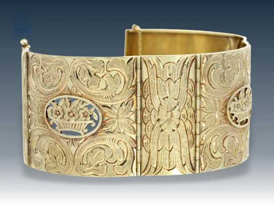 Bracelet: exceptional, antique wide gold bracelet, meisterp oz CH, 14K Gold - photo 1
