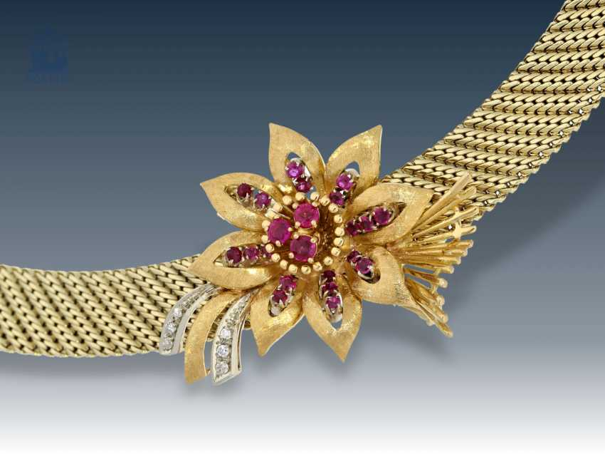 Chain/necklace: Golden, high quality vintage choker with rubies and diamonds, handmade 60s - photo 1