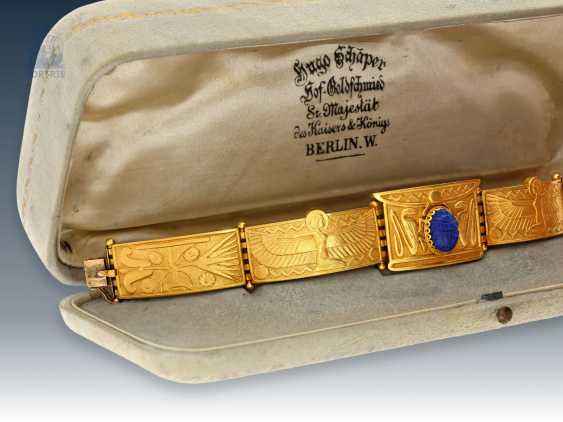 """Bracelet: important art Nouveau antique jewelry is in excellent state of preservation, """"the Egyptian Revival"""", Hugo Schaper (1844-1915), court goldsmith, S. R. MAJ. the Emperor and king, Berlin, with original case - photo 1"""