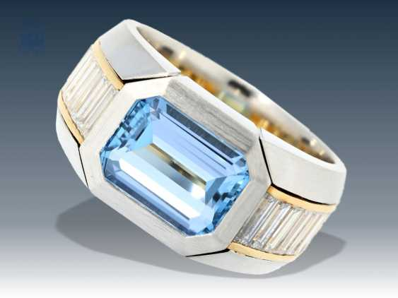 Ring: exclusive gold ring forged with high quality aquamarine, and diamonds in high quality, platinum - photo 1