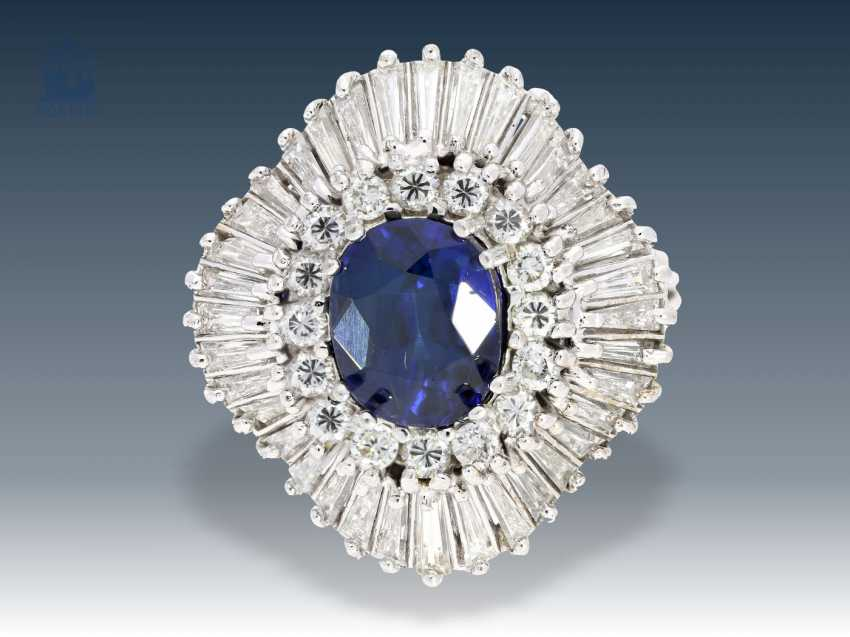 Ring: vintage gold wrought ring with elaborate Ballerina collection, sapphire and diamonds, approx. 4ct - photo 1