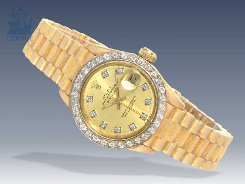 "Watch: luxury vintage ladies watch, Rolex Datejust ""bark"" with a diamond dial and a brilliant bezel, 70s - photo 1"