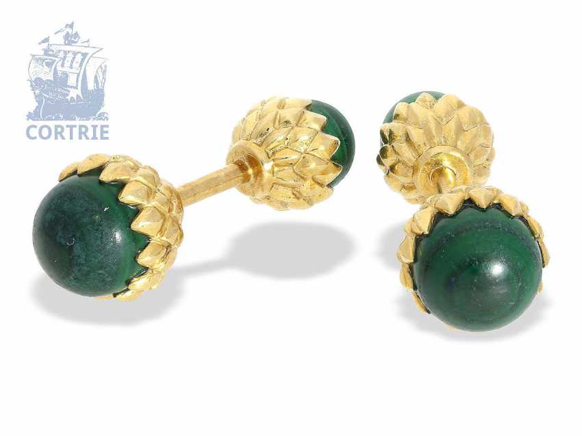 "Cufflinks rare vintage cufflinks, Tiffany & co., designer-Jean Schlumberger ""Acorn"", 18K Gold, malachite, approx 1970 - photo 1"