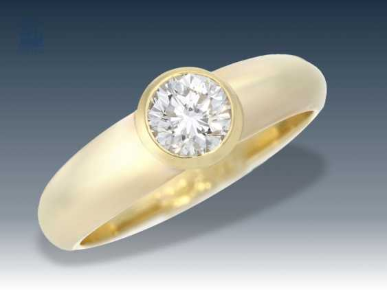 Ring: fine diamond/solitaire ring with brilliant 1ct Top WesseltonF/SI, with certificate - photo 1