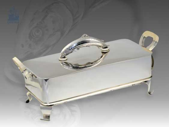 Silver: luxurious rarity, extremely rare and extremely high-quality electric fish warmer, Koch & Bergfeld, sterling silver/ivory, vintage - photo 1