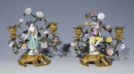Pendant Kerzenleuchter. MEISSEN Mitte 18. Jahrhundert, - photo 1
