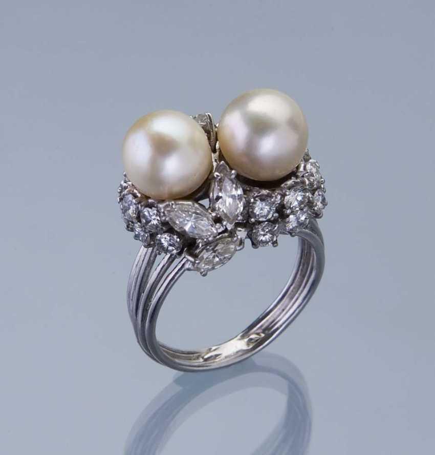 Beads-Diamond-Ring. 750 white gold (18 ct), - photo 1