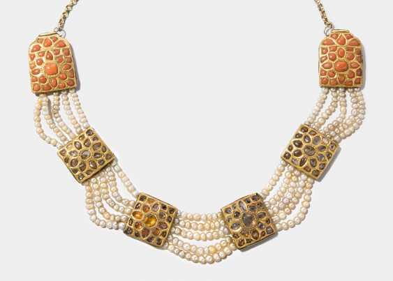 Chrysoberyl-Cat's Eye Coral Enamel Necklace - photo 1