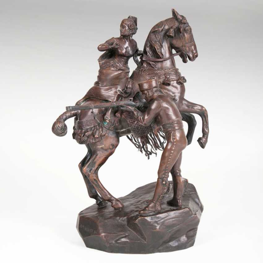 A very rare bronze sculpture 'Chased' by Albert Moritz Wolff