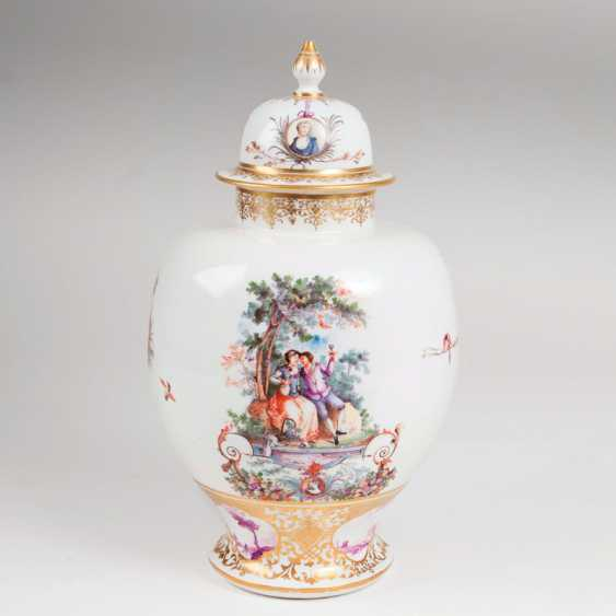 An important Augustus-Rex lidded vase with allegories of autumn and winter by Meissen
