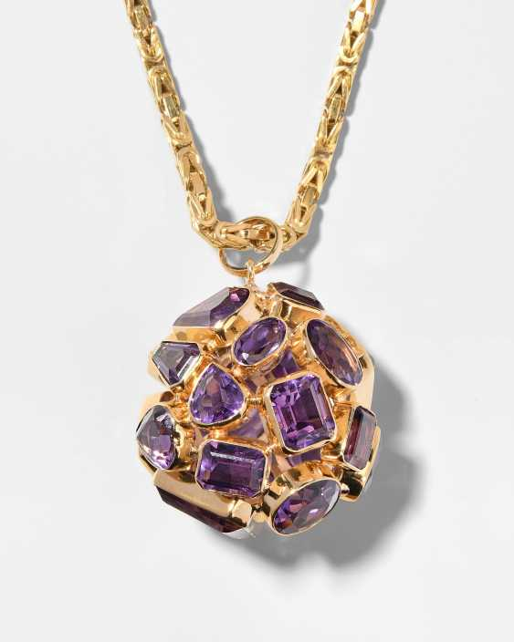 Amethyst pendant with chain - photo 1