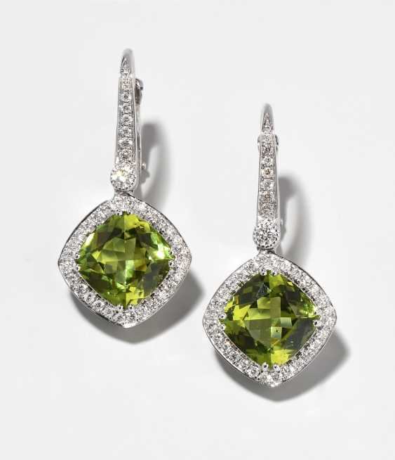 Peridot And Diamond Earrings - photo 1