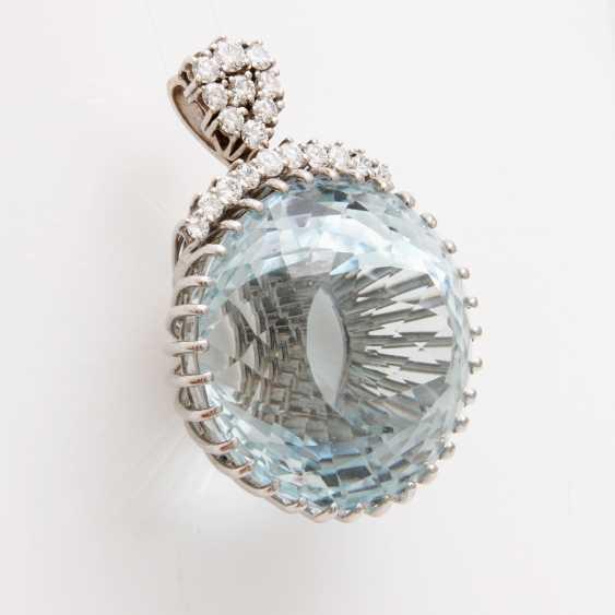 Pendant made of a rundfac. Aquamarine - photo 3