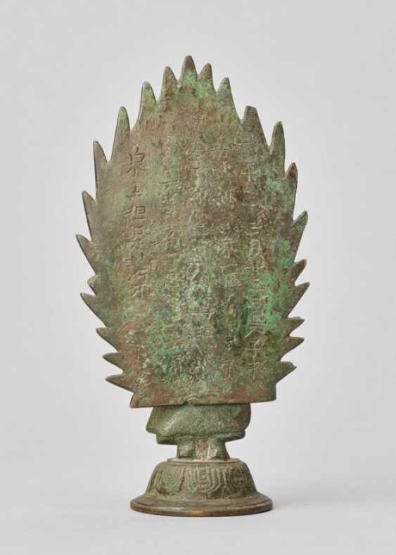BUDDHA STANDING IN FRONT OF A FLAMING HALO, BRONZE, CHINA, DATED 571 - photo 5