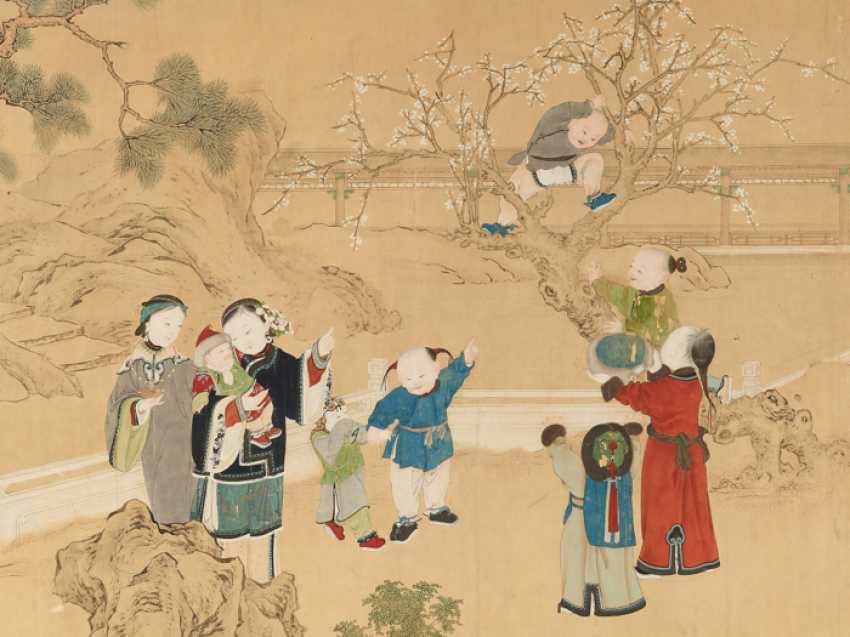 A FINE AND VERY LARGE PAINTING WITH CHILDREN PLAYING IN THE PALACE GARDEN - photo 2