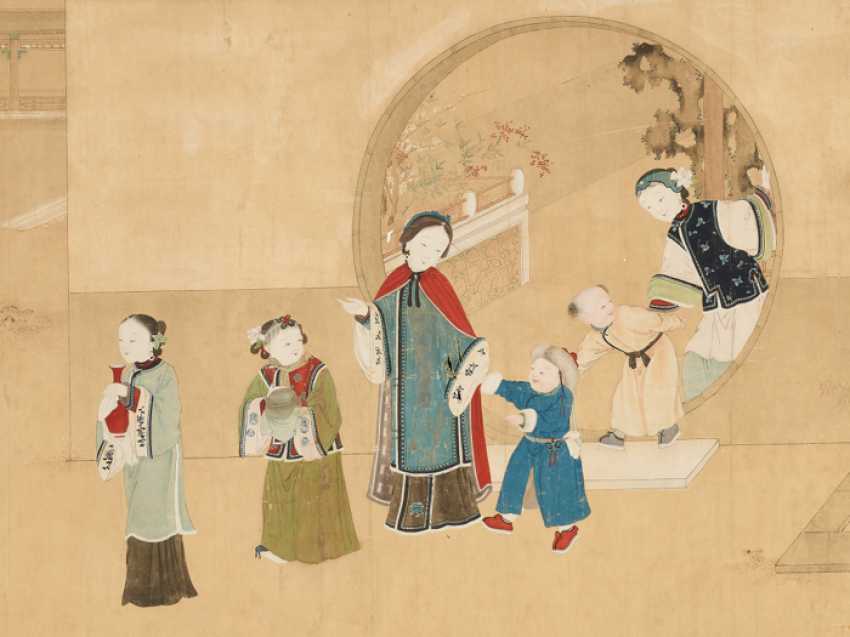 A FINE AND VERY LARGE PAINTING WITH CHILDREN PLAYING IN THE PALACE GARDEN - photo 3