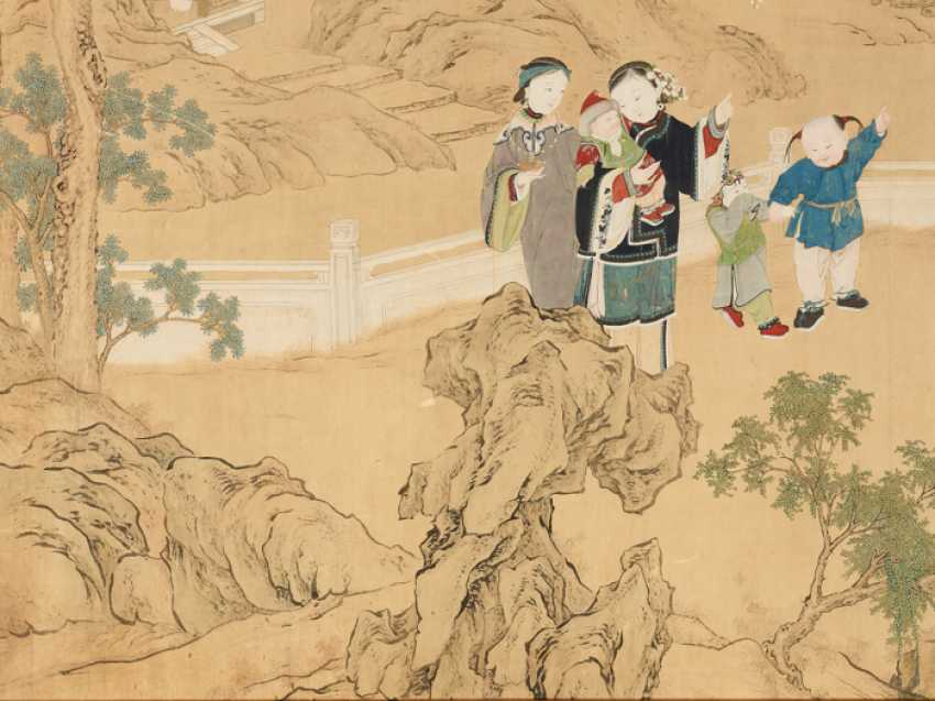 A FINE AND VERY LARGE PAINTING WITH CHILDREN PLAYING IN THE PALACE GARDEN - photo 4