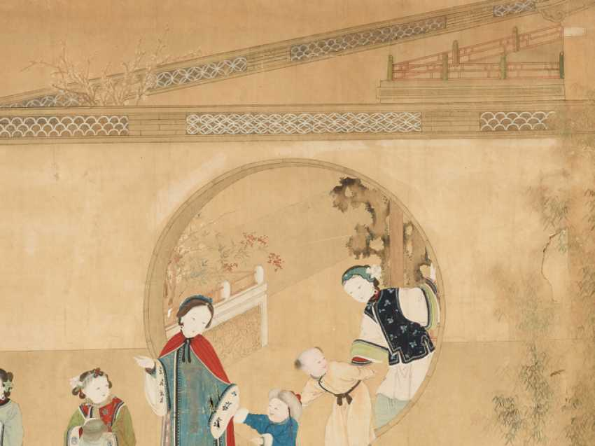 A FINE AND VERY LARGE PAINTING WITH CHILDREN PLAYING IN THE PALACE GARDEN - photo 5