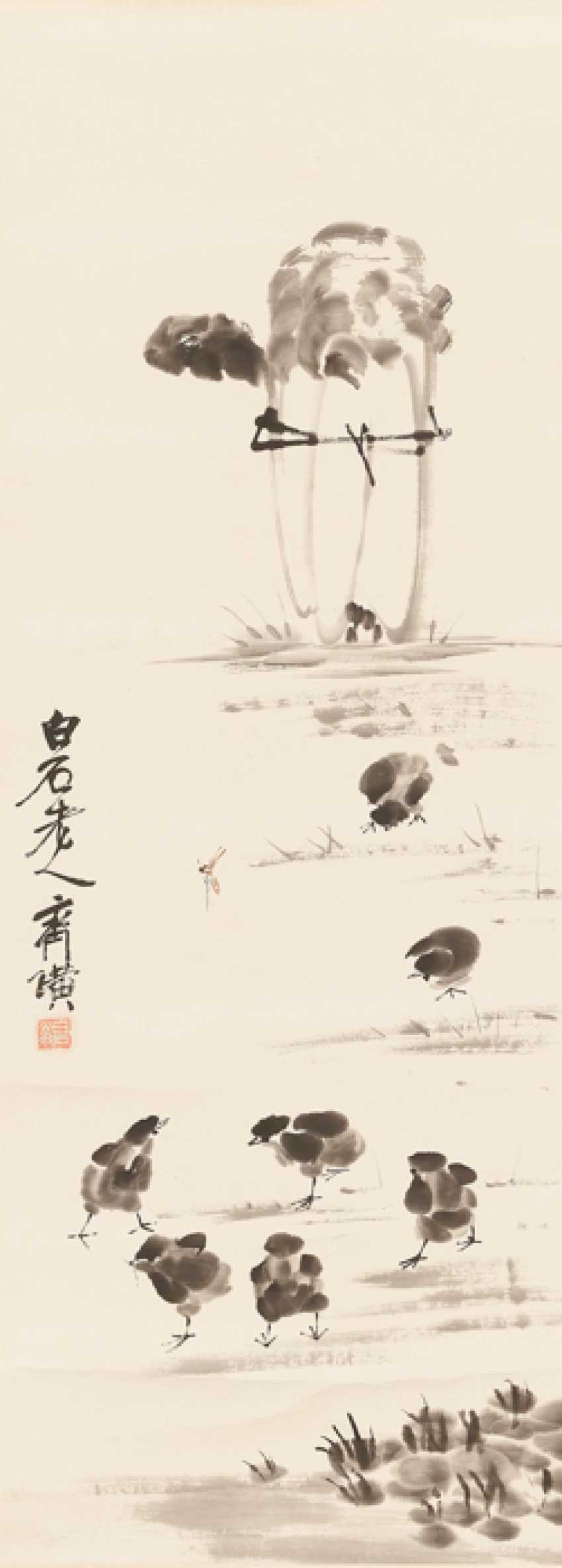 AN INK DRAWING 'WHITE CABBAGE AND CHICKS', QI BAISHI (1864 – 1957) - photo 1