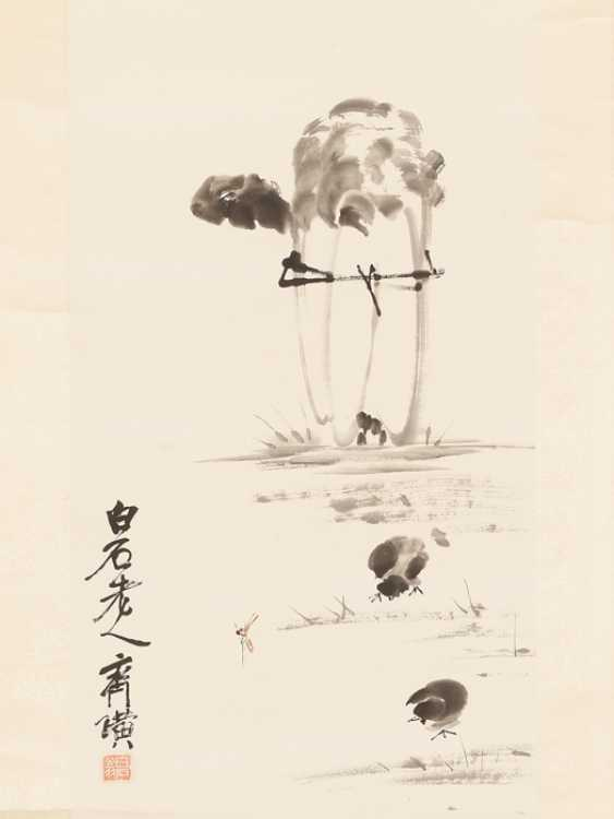 AN INK DRAWING 'WHITE CABBAGE AND CHICKS', QI BAISHI (1864 – 1957) - photo 3