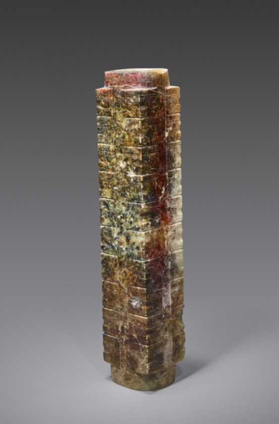 AN EXTREMELY RARE AND IMPRESSIVE TALL CONG WITH MULTIPLE REGISTERS DECORATED WITH SIMPLIFIED HUMAN-LIKE MASKS - photo 1