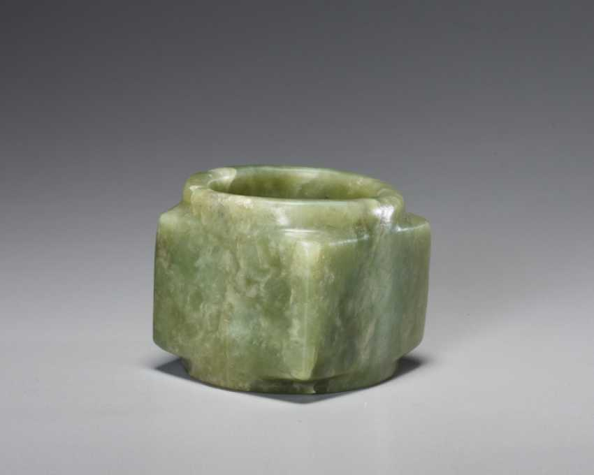 A BEAUTIFUL, THOROUGHLY POLISHED PLAIN CONG OF SQUARE SHAPE CARVED FROM EMERALD GREEN JADE - photo 1