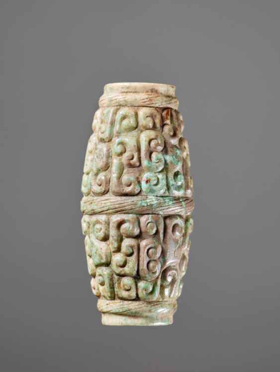 A BARREL-SHAPED BEAD DECORATED WITH THE PANHUI PATTERN OF SWARMING CURLS - photo 1