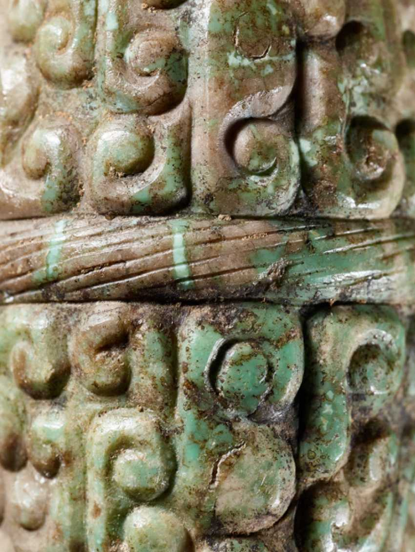 A BARREL-SHAPED BEAD DECORATED WITH THE PANHUI PATTERN OF SWARMING CURLS - photo 4