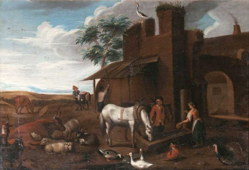 A pair of pieces: the horses at the watering hole and resting cattle. Dutch Champion - photo 1