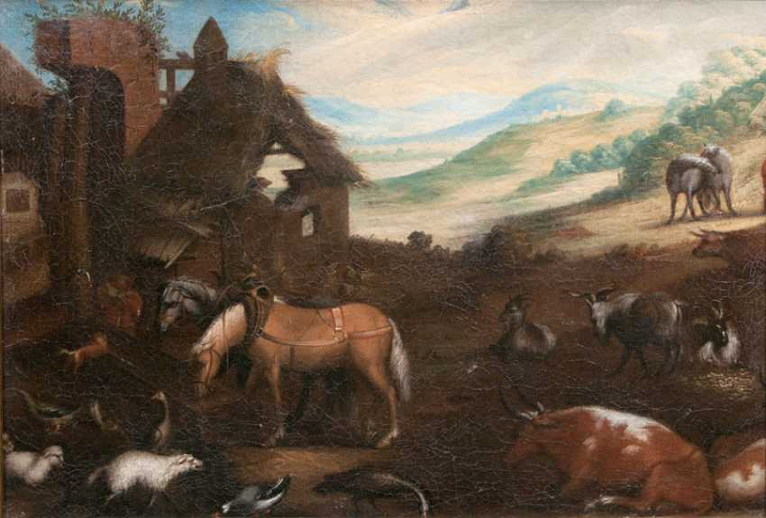 A pair of pieces: the horses at the watering hole and resting cattle. Dutch Champion - photo 2