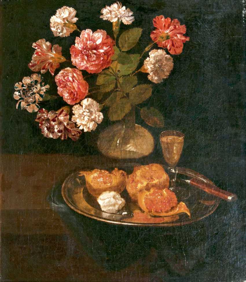 Table still-life with carnation bouquet, pomegranate, and Sherry. The Dutch Still Life Painter - photo 1