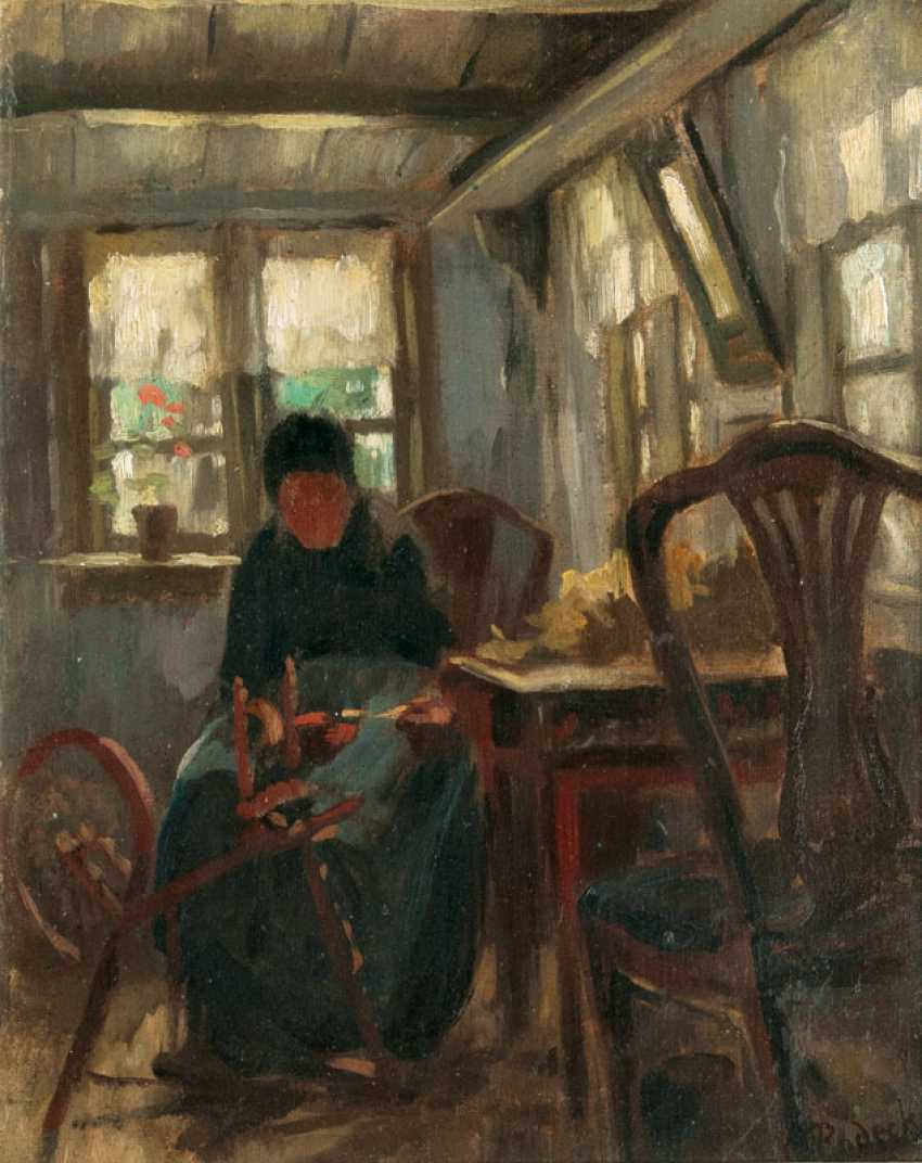 Woman at the spinning wheel. Carl Rodeck - photo 1