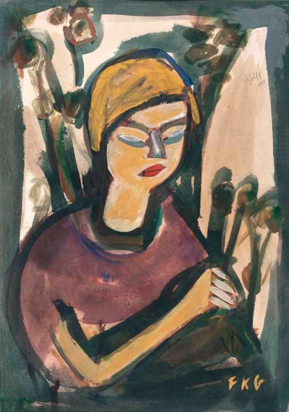 Woman with flowers. Friedrich Karl Gotsch - photo 1