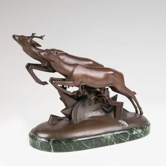 Bronze Group Of 'Volatile ROE Deer'. Gerhard Schliep Stone - photo 1