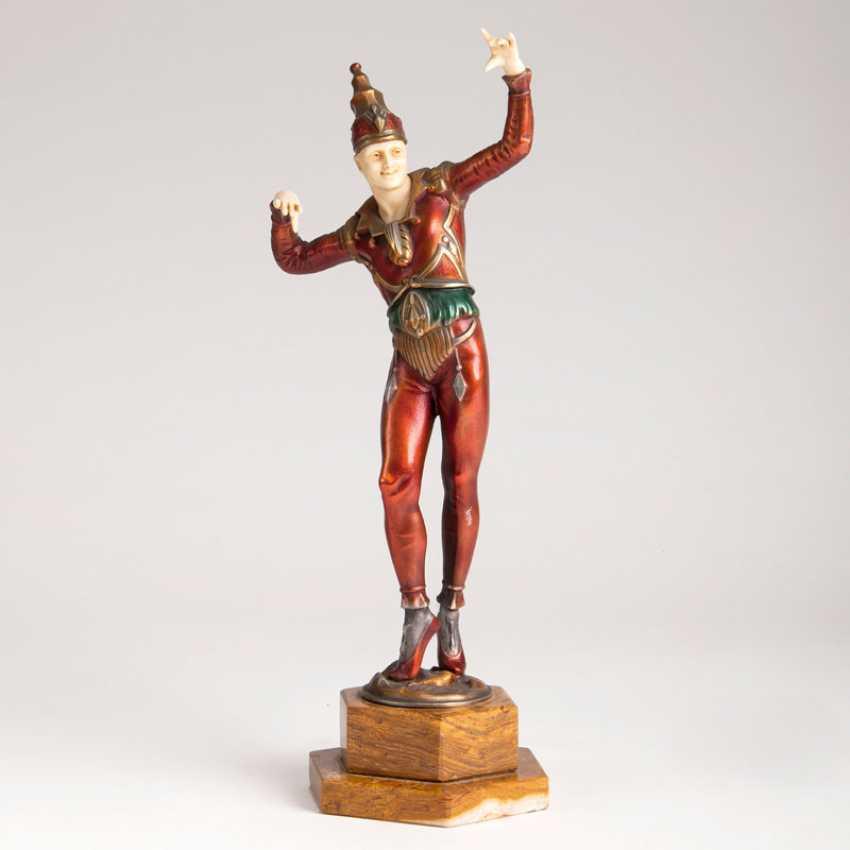 Art deco Bronze Figur 'Pierrot'. Paul Philippe - photo 1