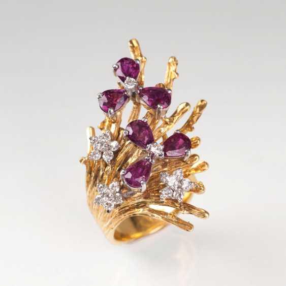 Vintage Rubin-Brillant-Ring. - Foto 1