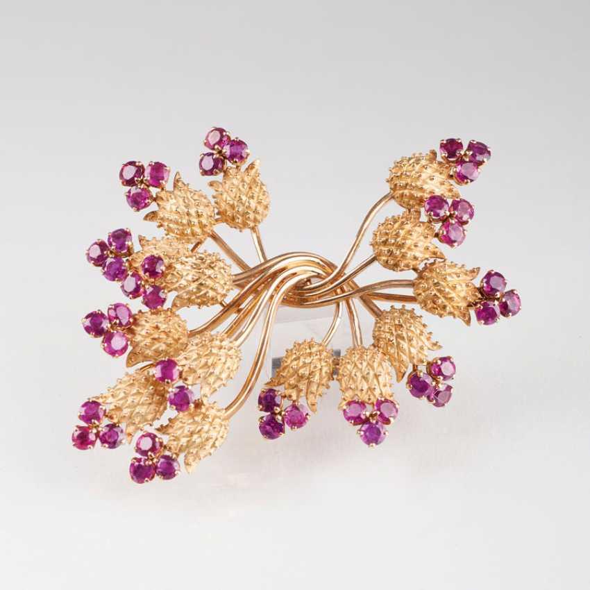 Vintage Ruby Flower Brooch. - photo 1