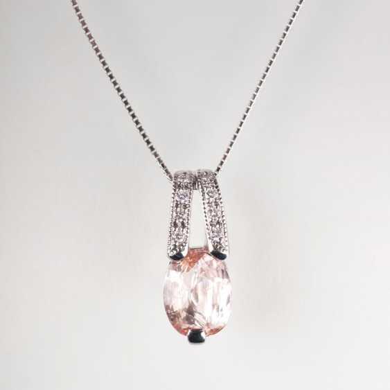 Rare sapphire pendant with diamonds on delicate chain. - photo 1