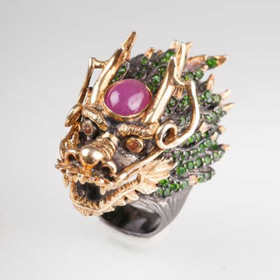 An imposing dragon head-Ring with rich color stone trim. - photo 1