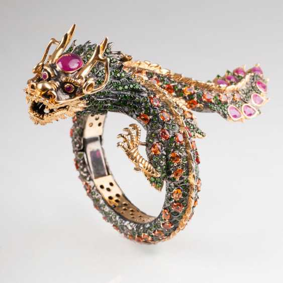Imposing, magnificent dragon bangle bracelet with rich color stone trim. - photo 1