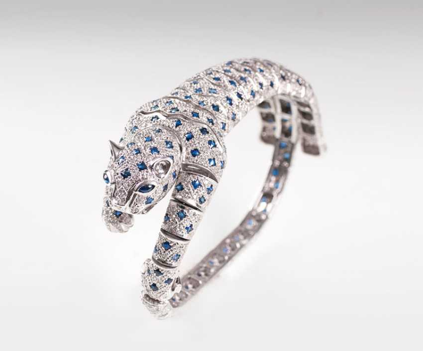 Exceptional Sapphire And Diamond Bracelet 'Panther'. - photo 1