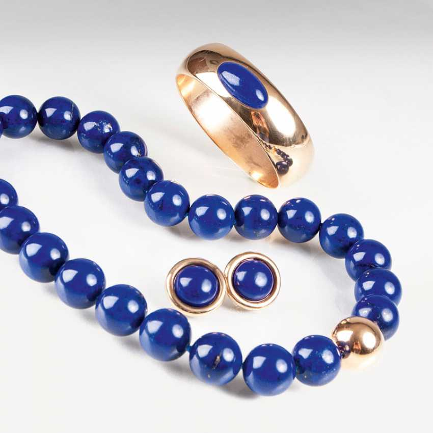 Lapis lazuli jewelry set with necklace, earrings and bracelet. - photo 1