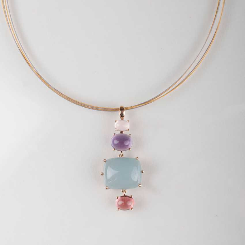 Color gemstone pendant with chain Mature. - photo 1