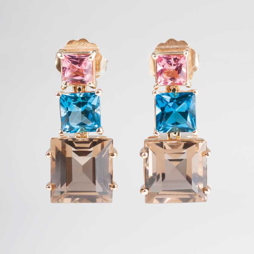 Pair of drop earrings with Pink tourmaline, blue Topaz and smoky quartz. - photo 1
