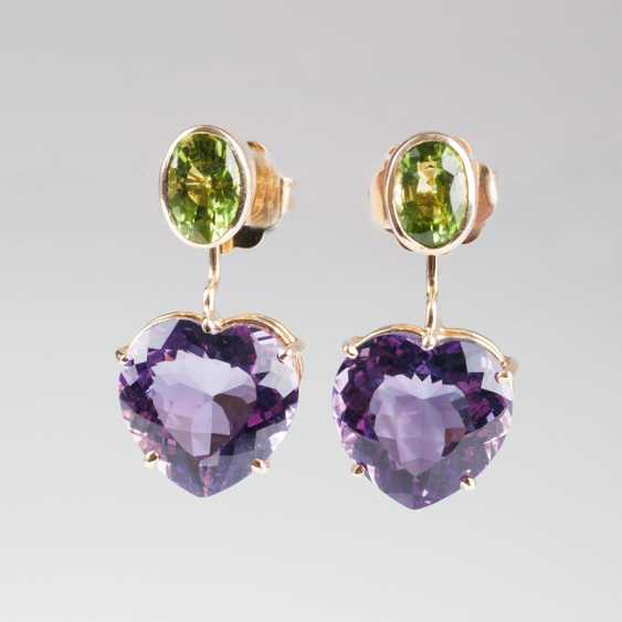 Pair of heart shaped Amethyst-Peridot-earrings. - photo 1